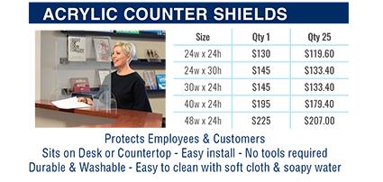acrylic counter shields